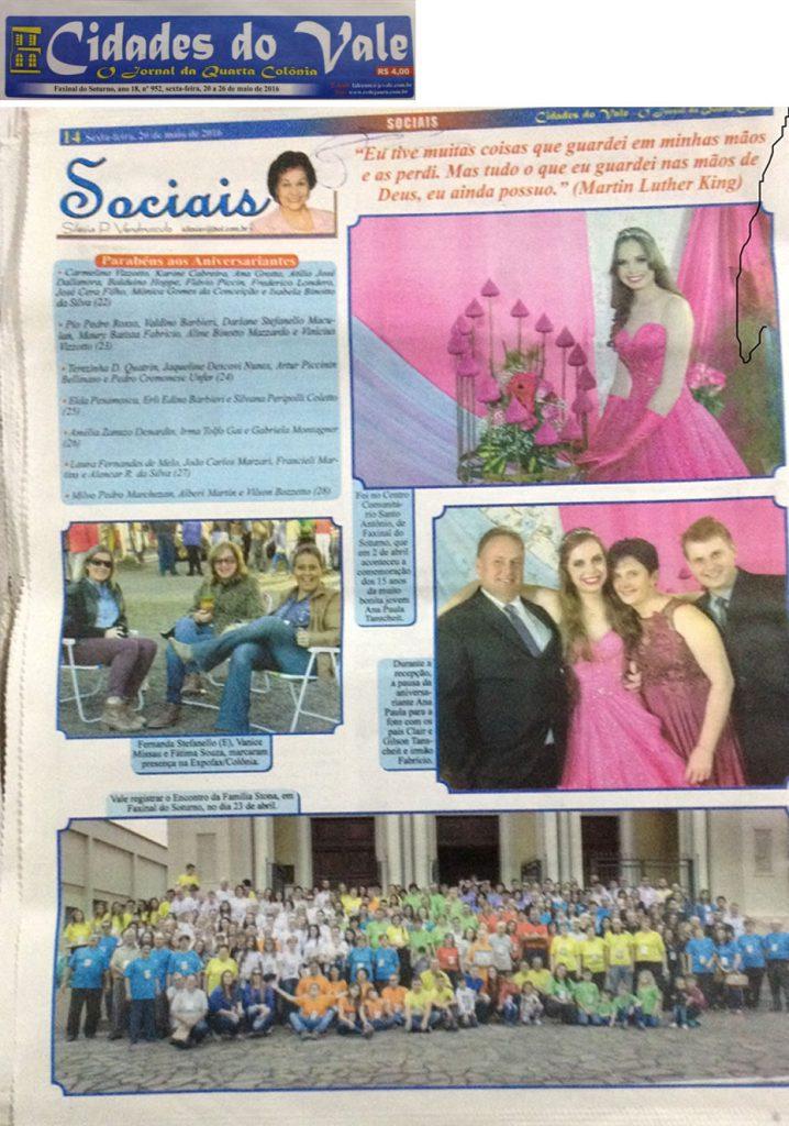 Edição 952 do Jornal Cidades do Vale com o destaque para o encontro da Família Stona.